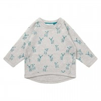 Baby Sweater mit Hirschen in grau