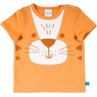Shirt kurzarm Tigerkopf Druck in hellem orange