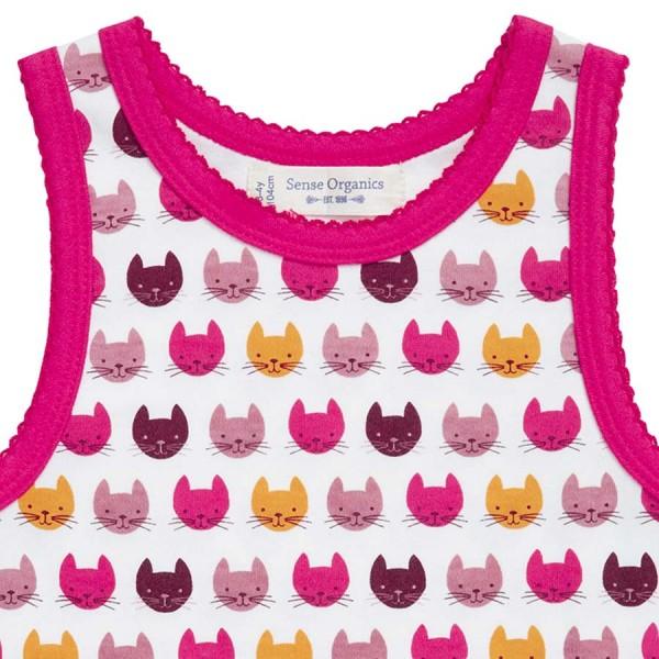 Bio Mädchen Unterhemd pinke Katzen