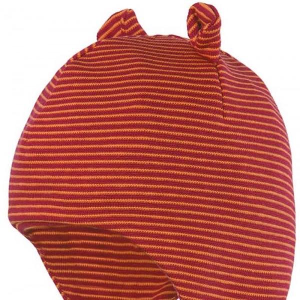 Babymütze mit Öhrchen aus Biobaumwolle neutral rot