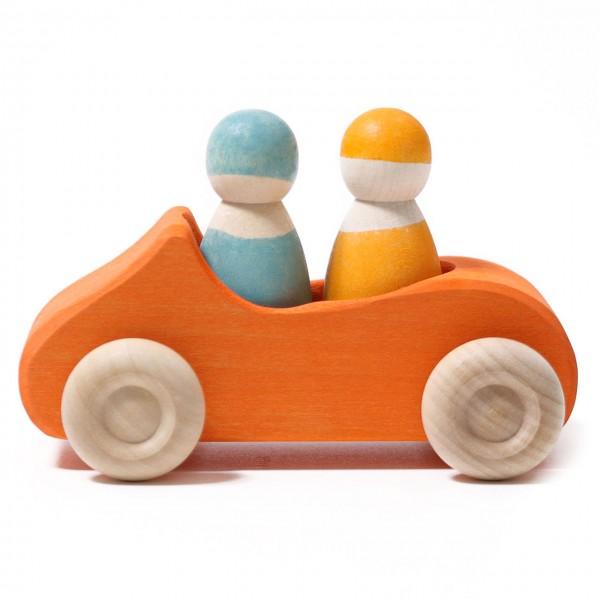 Holzauto großes Cabrio orange mit 2 Männchen ab 1 Jahr