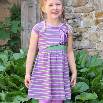 Jersey Kleid kurzarm Pferde in lavendel