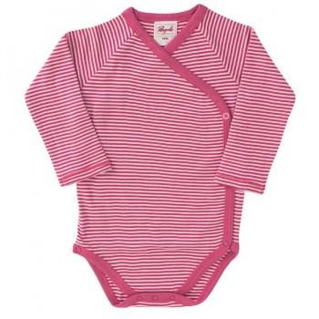 Langarm Wickelbody Ringel pink