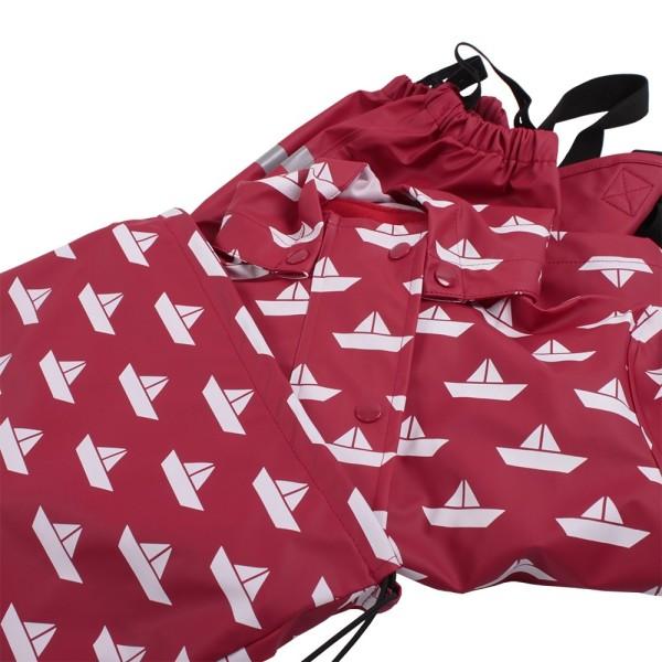 Regenbekleidung Set aus Hose und Jacke - robust und leicht rot