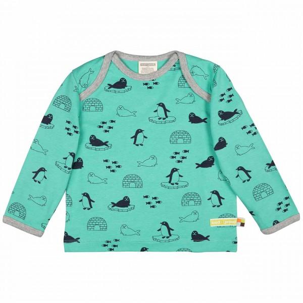 dickes Langarmshirt grün Pinguine + Robben