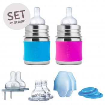 2 Babyflasche Edelstahl Geschekeset ab Geburt pink blau