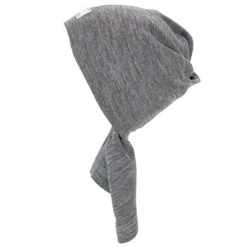 Wolle Seide Schlauchschal Mütze Strunzl grau
