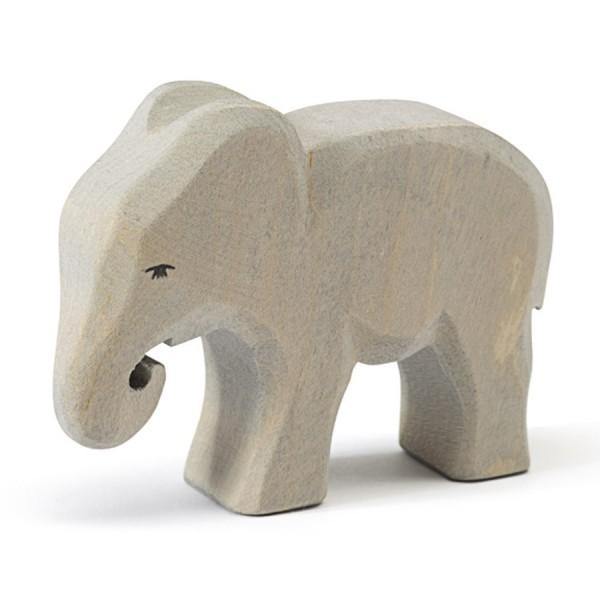 Kleiner Elefant fressend Holzfigur 8,5 cm hoch