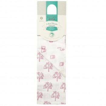 Mulltücher Doppelpack Eulen 80 x 80 rosa