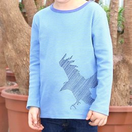 Adler Shirt Stickerei super edel blau