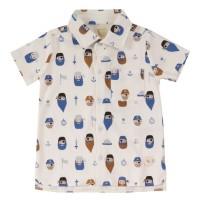 Graues Hemd Piraten-Druck kurzarm Shirt