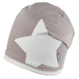 Long Beanie beige grau Stern Aufnäher