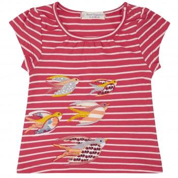 T-Shirt Vogel Aufnäher Streifen in pink
