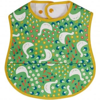 Lätzchen mit Auffangtasche Gans in grün