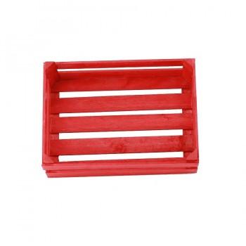 Holz-Obstkiste für Kaufmannsladen klein rot 12 x 8 x 6 cm