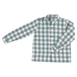 Hemd ohne Kragen unisex leicht und weich hellblau kariert