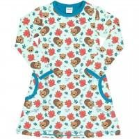 Kleid mit Taschen langarm Bieber aquamarin