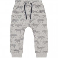 Leoparden Sweat Babyhose in grau