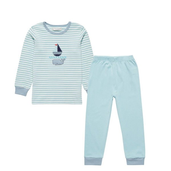 Bio Schlafanzug Wal gestreift hellblau