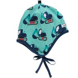 maxomorra Bio Babymütze Bagger innen aus weichem Velours