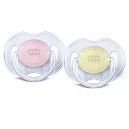 Beruhigungssauger gelb & rosa 2 Stück 0-6 Monate