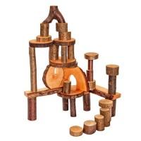 Holzbauklötze mit Rinde für Spielwelten 36 Stk 3 kg