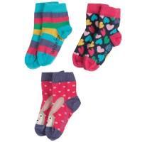 frugi Socken für Mädchen im 3er Pack mit Herzen und Hasen