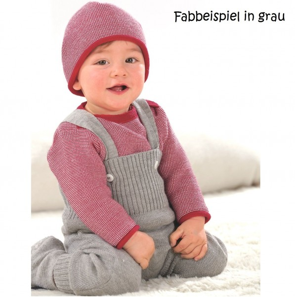 Mitwachsende Strick Trägerhose Merino Schurwolle - rot