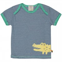 Leichtes Ringel Kurzarm Shirt dunkelblau Tiermotiv