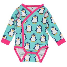 maxomorra Bio Wickelbody langarm elastisch Pinguin