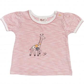 Slub T-Shirt Giraffe Ringel in rosa