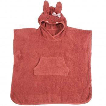 Kinder Badeponcho mit Kapuze rot 1-4 J