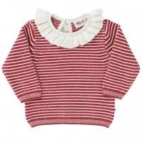 Baby Strick Pullover Kragen Ringel in rot