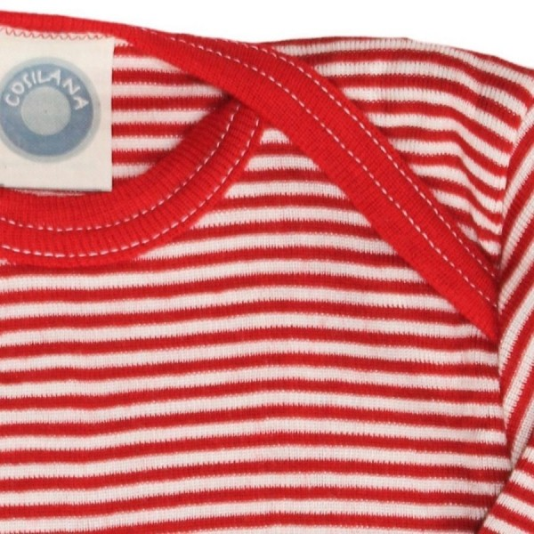 Wolle Seide atmungsaktives Langarmshirt rot gestreift