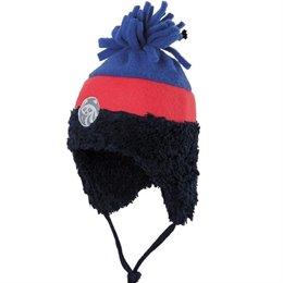 Warme Wintermütze mit Zottel-Bommel & Stern - marine