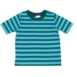 Kurzarm Shirt sommerlich gestreift grün blau