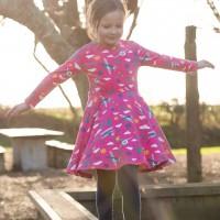 Flugzeug Mädchen Kleid langarm pink