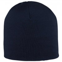 Warme Feinripp Mütze Wolle Seide in dunkelblau
