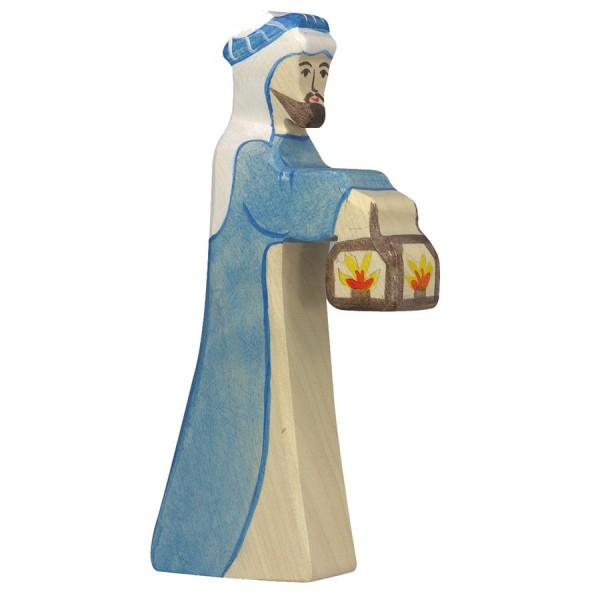 Hirte mit Lampe Krippenfigur aus Holz