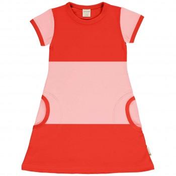 Leichtes Kleid kurzarm im Block-Design rosa-rot