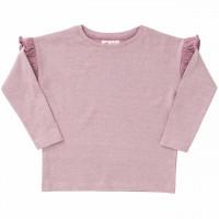 Shirt langarm Rüschen in rosa melange