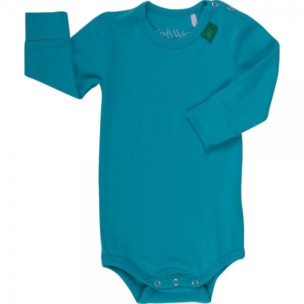 Dehnbarer Bio Body mit breiten Armbündchen - blau