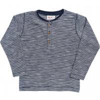 Henley Slub Shirt langarm Ringel dunkelblau