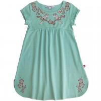 Jersey Kleid kurzarm Vogel in jade-grün