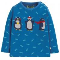 Shirt langarm Pinguin Aufnäher blau