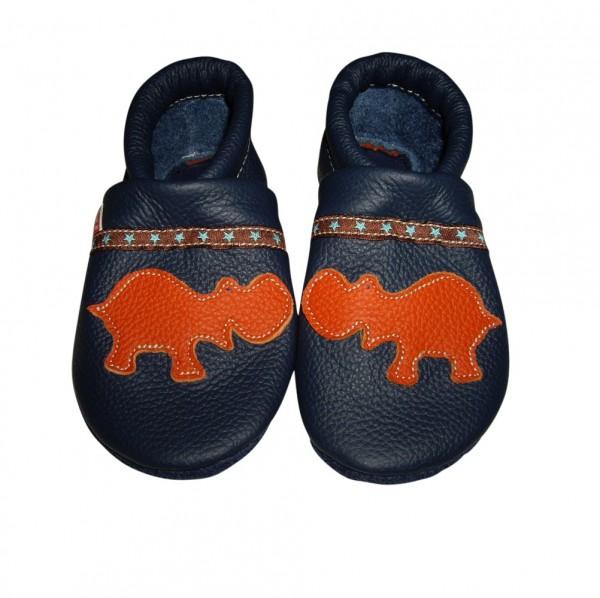 Krabbelschuhe schmal Hippo