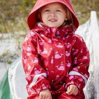 Vorschau: Mädchen Regenbekleidung rot mit rosa Walen
