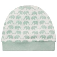 Weiche Babymütze mit Elefanten pastell-mint