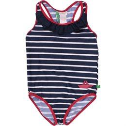 Badeanzug mit Blau Weiß gestreift - schadstofffreie Badekleidung für Kinder!