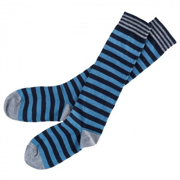 Kniestrümpfe blau/dunkelblau geringelt